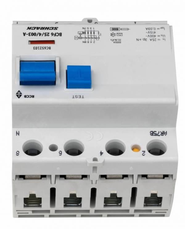 Residual current circuit breaker 25A, 4-p, 30mA,type A,6kA
