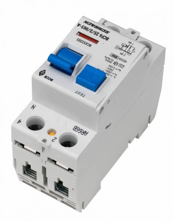 Residual current circuit breaker 25A, 2-p, 30mA,type A,6kA