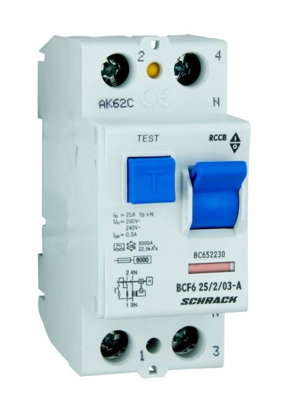 Residual current circuit breaker 25A, 2-p, 300mA, type A,6kA
