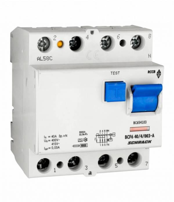 Residual current circuit breaker 40A, 4-p, 30mA,type A,6kA