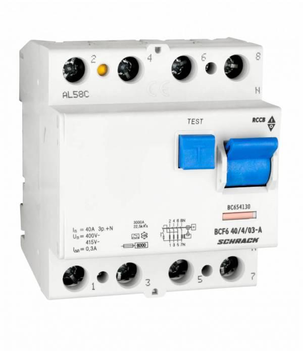 Residual current circuit breaker 40A, 4-p, 300mA, type A,6kA
