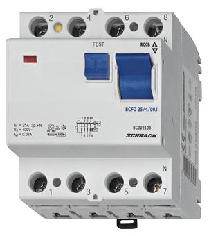 Residual current circuit breaker 63A, 4-p, 30mA,type A,6kA