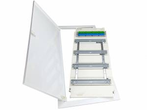 Frame with door and insert f. KVM flat 4-row, 48/56MW