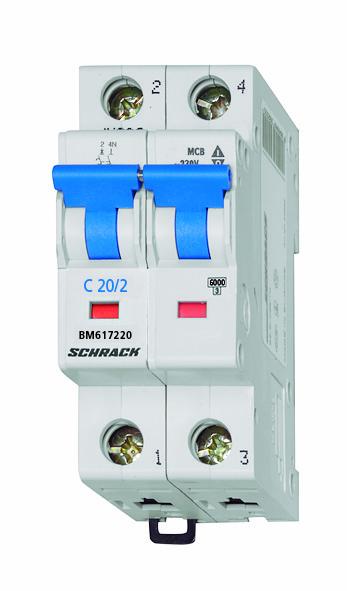 Miniature Circuit Breaker (MCB) C20/1+N, 6kA