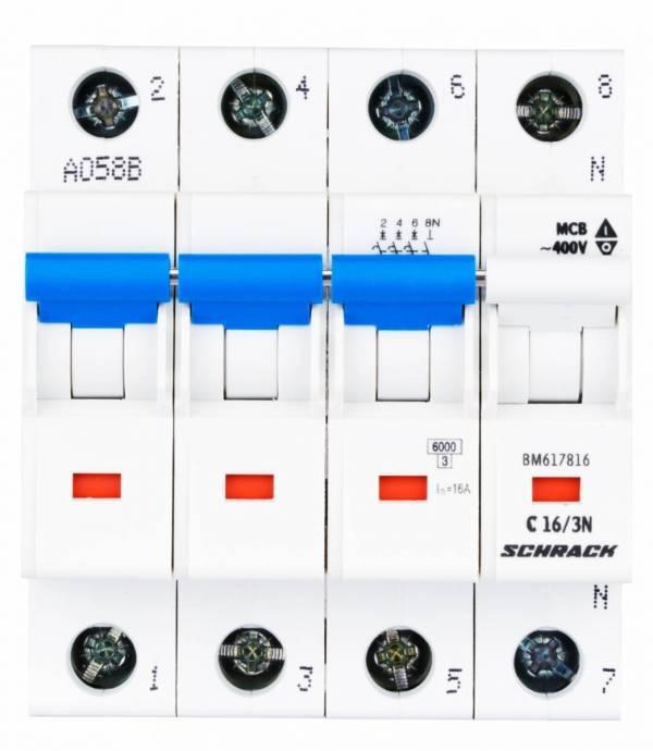 Miniature Circuit Breaker (MCB) C16/3+N, 6kA