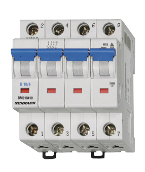 Miniature Circuit Breaker (MCB) B, 25A, 4-pole, 6kA