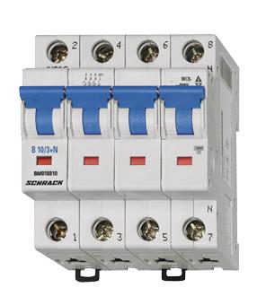 Miniature Circuit Breaker (MCB) B, 13A, 3-pole+N, 6kA