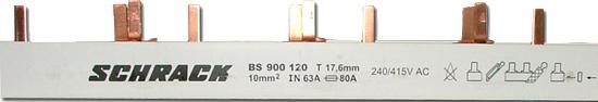 Busbar Pin Version 3 pole, 10mm² MW = 17,75mm