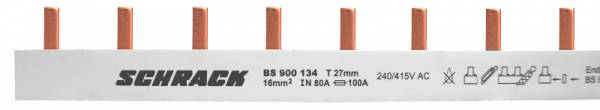 Busbar Pin Version 3 pole, 16mm² / MW=27mm for D0-devices,1m