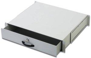 "19"" Shelf for documents lockable, 25kg Load,D=400,2U,RAL7035"