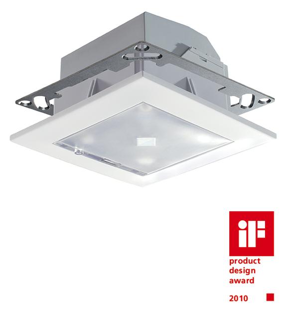 Presence detector, ceiling, 360°/64m²/IP40/2xlight, white