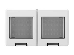 Wall mounted housing with back side cover 2x2M, IP55, white