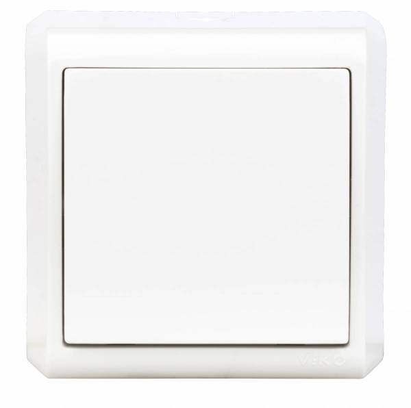 Wall m. on/off switch, 1pole, screw connection, IP20, white