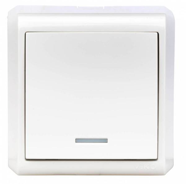 Wall m. on/off switch, orient.light, screw con., IP20, white
