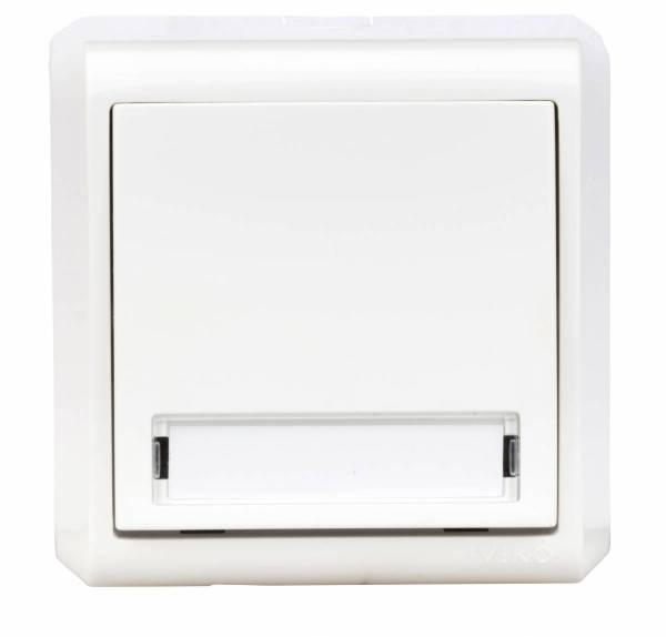 Wall m. push button, icon doorbell, screw con., IP20, white