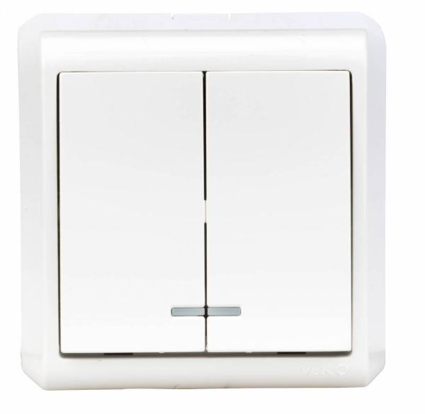 Wall m. series switch, orient.light, screw con., IP20, white