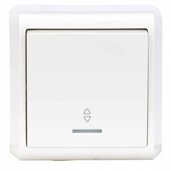 Wall m. changeover switch,orie.light, screw con, IP20, white