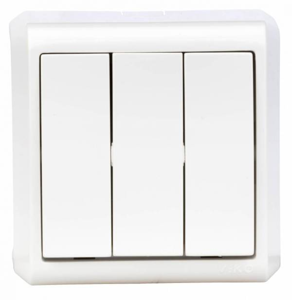 Wall mounted tripple switch, screw connection, IP20, white
