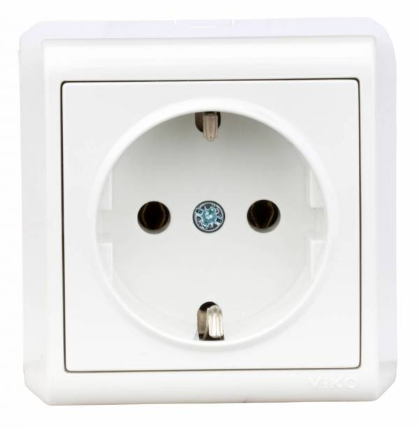 Wall mounted earthed socket, screw connection, IP20, white