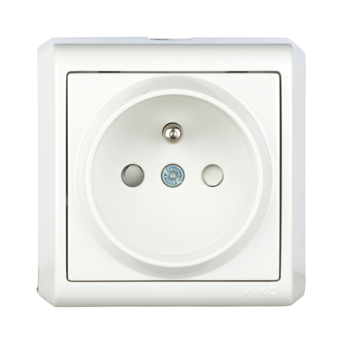 Wall m. earthed pin socket, child pr, screw con, IP20, white
