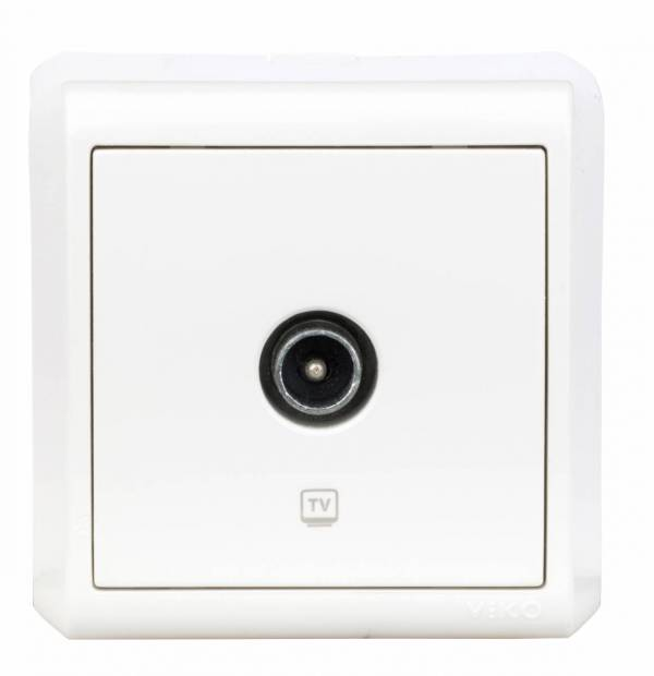 Wall mounted TV end socket, screw connection, IP20, white
