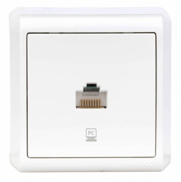 Wall m. single numeric CAT3, screw connection, IP20, white