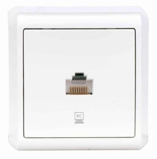 Wall m. single data socket CAT5e, screw con. IP20, white