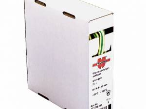 Heat-shrinkable tube, thin-wall, yel-grn 6,4/3,2 mm 1box=5m