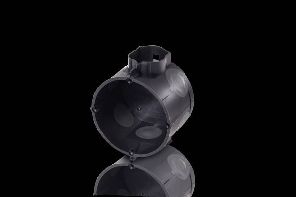 Device socket with 25mm pipe nozzles, with 4 screw domes