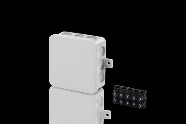 Damp area junction boxes IP54, 75x75x40mm, with 5 pole socke