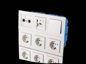 Hollow wall device socket solid, 6-way
