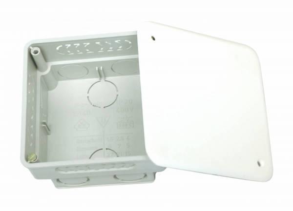 Flush junction box 80x80xd50mm, break out opening, cover wt