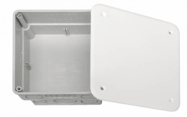Flush junction box 100x100xd50mm, break out opening,cover wt