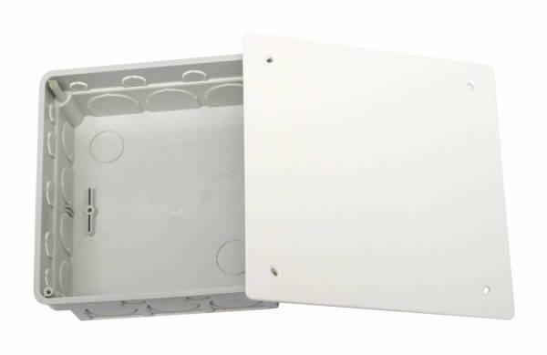 Flush junctionbox 150x150xd50mm, break out opening, cover wt