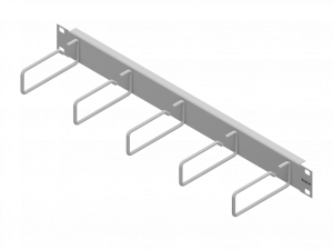 Routing Panel 1U with 5 Cable Clamps of Steel 110mm RAL7035