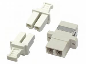 FO Coupler LC-Duplex, Plastic,Multimode, phbr, flange, grey