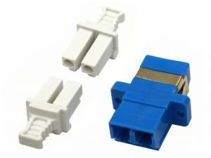 FO Coupler LC-Duplex,Plastic,Singlemode,zirconia,flange,blue