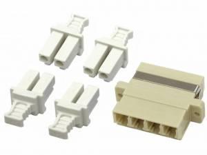 FO Coupler LC-Quad, Multimode, phbr, flange, grey