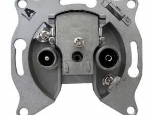 Antenna loop-through outlet 2-Port,14dB,Cl.A,Frame+Box,R9010