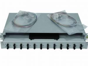 """FO Splicebox, 12 Fibers, ST, 50/125µm OM3, 19"""", 1U, Class B"""