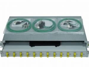 "FO Splicebox, 12 Fibers, FC, 9/125µm OS2, 19"", 1U"