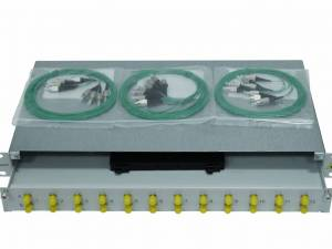 "FO Splicebox, 16 Fibers, FC, 9/125µm OS2, 19"", 1U"