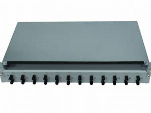 "FO Patchpanel 19"", 1U, sliding, for 24 fibers, ST, MM"