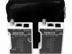 Cable tester RJ45 (UTP+STP) / RJ11 / Coax with bag