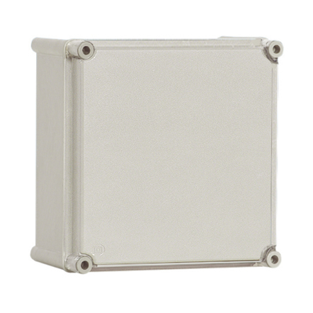 Polyamide case with PC-cover, grey, 180x180x129mm