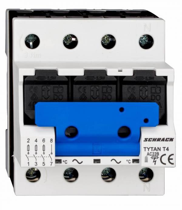 TYTAN T4P, D02-fuse-load-breaker, 63A, 3-pole + N