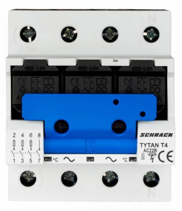 TYTAN T4P, D02-fuse-load-breaker, 25A, 3-pole + N