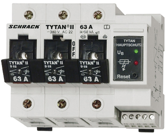 TYTAN II, 1 pole+N, 63A, D02 + fuse monitoring