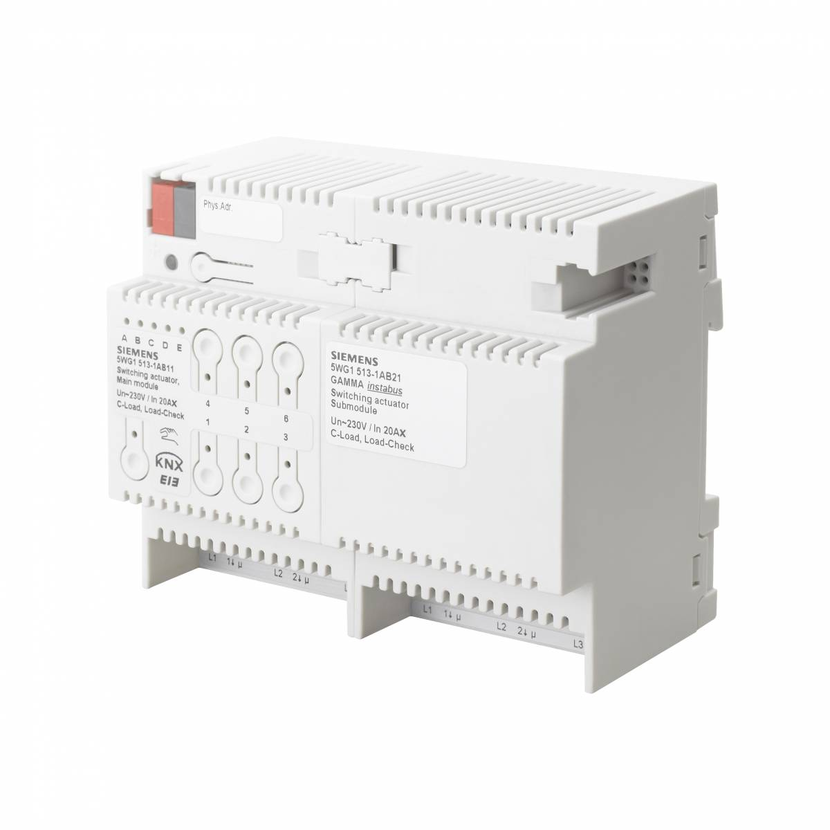 Switch actuator submodule' 3 x AC 230/400 V' 20 AX