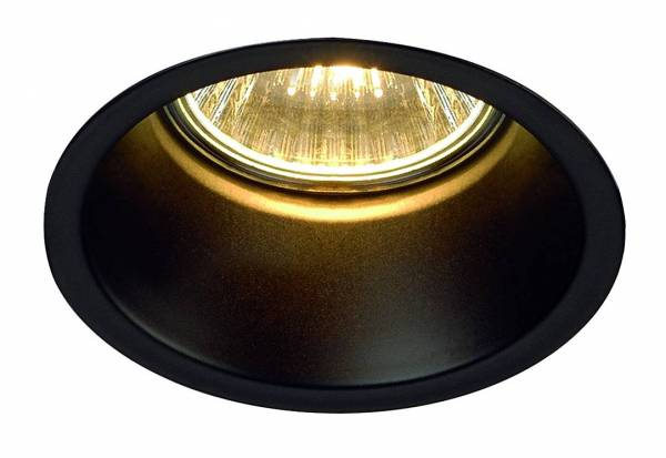 HORN GU10 downlight, round, matt black, max. 50W